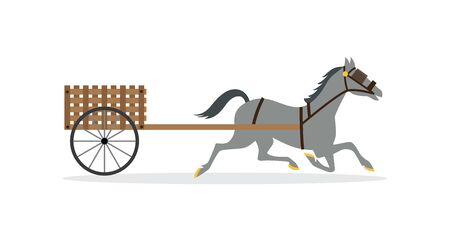 Traditional horse carriage with small wicker wagon on wheels. Grey cartoon horse in harness and blinkers carrying empty wooden cart, flat side view vector illustration.
