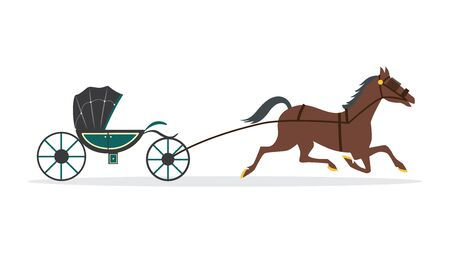 Brown cartoon horse carrying green carriage wagon isolated on white background. Elegant vintage chariot - medieval animal drawn transport from side view, vector illustration.