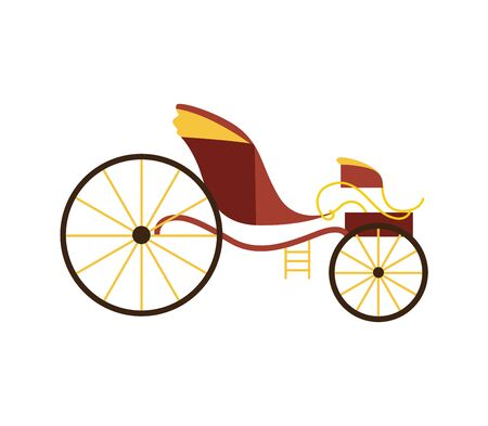 Brown royal horse carriage wagon isolated on white background - elegant vintage transportation cart from side view, flat vector illustration of luxury transport vehicle