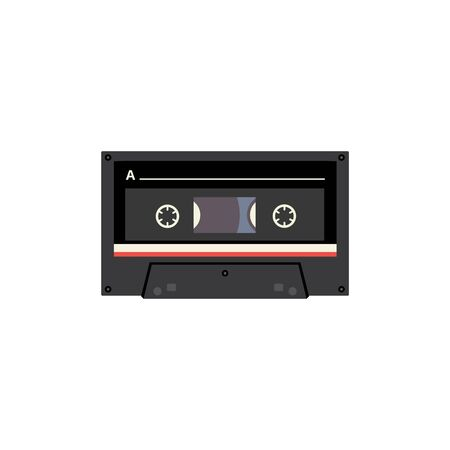 Black cassette tape with retro design - flat isolated sticker with vintage stereo music player analogue tape from the 80s. Vector illustration.