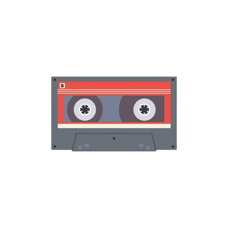 Colorful icon or symbol of retro music stereo recorder tape or video player cassette from 80s - 90s ages , vector illustration isolated on white background. Illustration