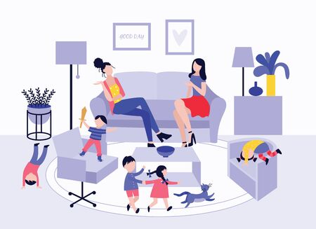 Two mothers at children's play date sitting on sofa and talking. Cartoon people in home living room interior with toddler kids playing together - flat vector illustration