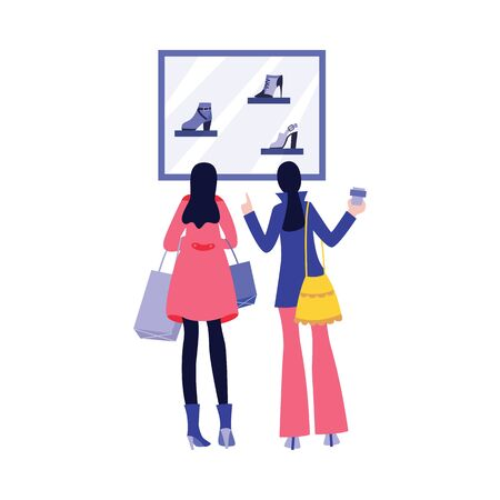 Women looking at shoes in shop window - two shopping friends from back view isolated on white background. Customers picking out footwear - flat vector illustration Stock Illustratie
