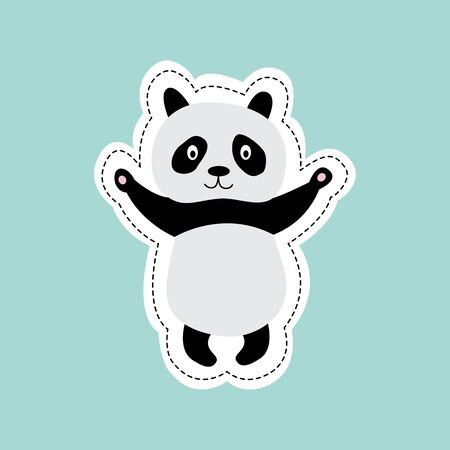 Cute cartoon panda standing with stretched arms ready for a hug - adorable black and white animal with paws up. Flat sticker vector illustration on blue background.