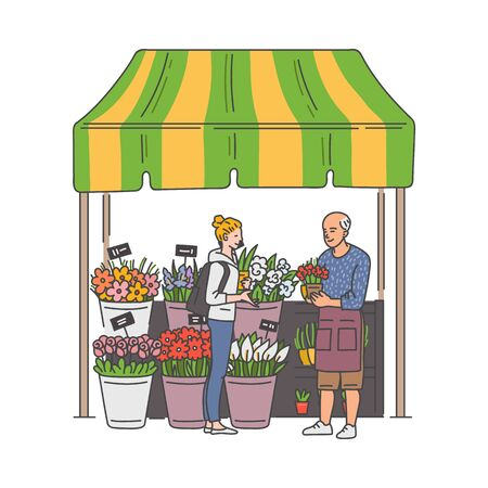 Flower market kiosk booth with seller and buyer cartoon characters, vector illustration in sketch style isolated on white background. Street fair floristic stand.