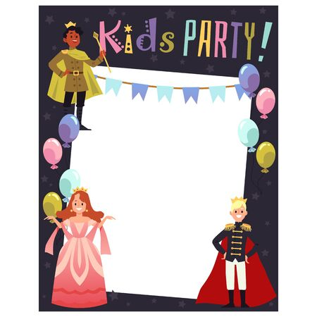 Kids costume party invitation card template with prince and princess cartoon characters, flat vector illustration. Background for children birthday celebration. Çizim