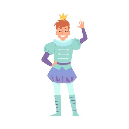 Cute young prince or king man cartoon character in fabulous suit, flat vector illustration isolated on white background. Carnival or costume party male personage.