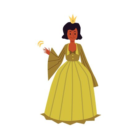 African american girl in princess or queen costume, flat vector illustration isolated on white background.Beautiful young woman cartoon character in historic long dress. Illustration