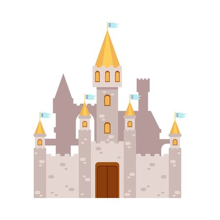 Fabulous fairy tales castle icon or symbol, flat cartoon vector illustration isolated on white background. Medieval kingdom fantasy palace building with towers.