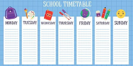 School weekly timetable template with space for notes flat vector illustration isolated on white background. Classes and lessons schedule with cute stationery icons. Vettoriali