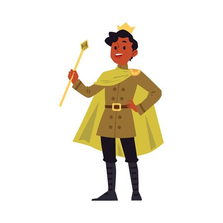 Cartoon man in king costume and gold royal crown holding a sceptre stick and smiling - happy young man with dark skin wearing prince cape. Flat isolated vector illustration.