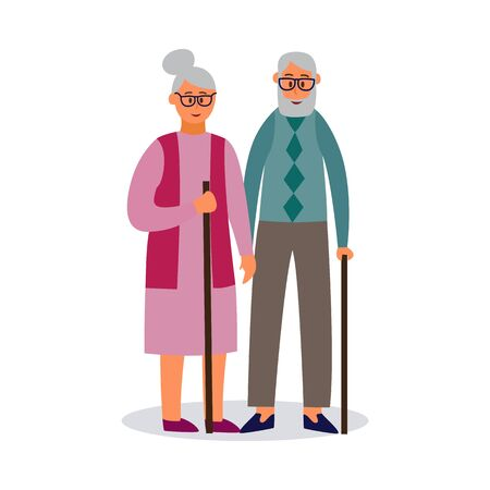 Old couple cartoon characters walking together with stick in hands, flat vector illustration isolated on white background. Senior people relationships and togetherness. 일러스트