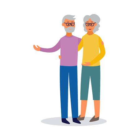 Happy old couple cartoon characters of elderly man and woman, flat vector illustration isolated on white background. Social concept of healthy lifestyle for old people. Иллюстрация