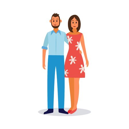 Young couple - man and woman cartoon characters in love or just married, flat vector illustration isolated on white background. Human life cycle image.