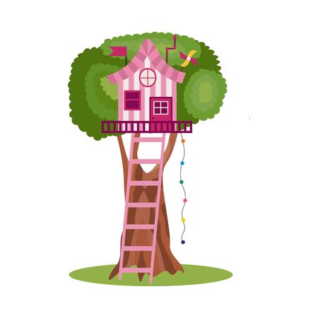 Treehouse for kids with swing and ladder, flat cartoon vector illustration isolated on white background. House on tree on children playground icon or symbol.