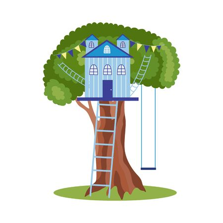 Blue treehouse on big summer tree with ladder, swings and party decorations - cartoon house isolated on white background. Flat vector illustration of childrens playhouse.
