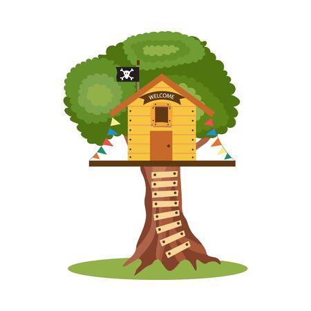 Wooden children tree house with pirate flag and playing equipment, cartoon flat vector illustration isolated on white background. Kids playground element.