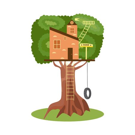 Wooden treehouse with ladder, signboard and wheel swing isolated on white background - small childrens castle on big green tree. Flat vector illustration.
