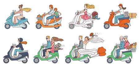 People on scooter bikes - modern transport collection with cartoon couples and drivers riding with groceries, flowers and delivery. Flat isolated vector illustration