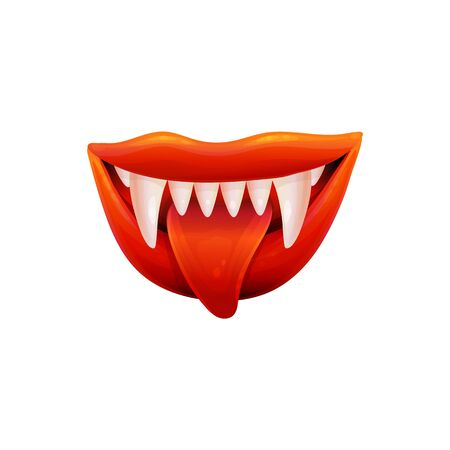 Sexy female vampire or devil open mouth with tongue, realistic vector illustration isolated on white background. Halloween monster design element for card or invitation.