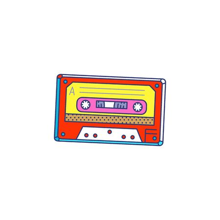 Retro style audio cassette cartoon pop art icon, colorful sketch vector illustration isolated on white background. Nineties and eighties years disco music tape cartridge.