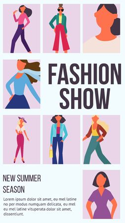 Fashion show poster with cartoon model women posing in glamour clothes and text template. Flat advertising flyer with runway models - vector illustration.  イラスト・ベクター素材