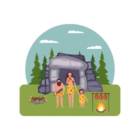 Prehistoric house with primitive people wearing animal skins characters, flat cartoon vector Illustration isolated. Stone age background - evolution of human civilization. Иллюстрация