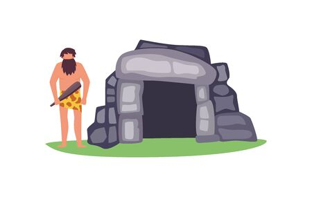 Stone age prehistoric house with primitive man cartoon character, flat vector Illustration isolated on white background. Housing evolution and caveman with weapon.