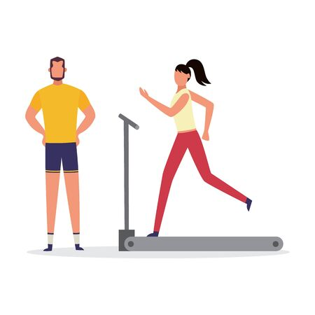 Personal fitness trainer giving professional advice to woman on treadmill, flat vector illustration isolated on white background. Sport man and woman cartoon characters.