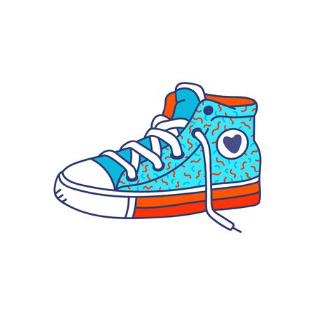 Colorful fashion sneakers cartoon bright icon, sketch vector illustration isolated on white background. Sport or casual youth footwear in retro 80s and 90s style. Иллюстрация