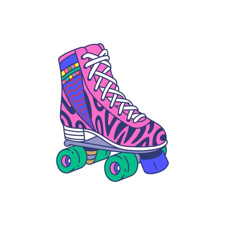 Pink roller skate quad shoe with colorful retro pattern and four green wheels - 80s style sticker isolated on white background. Flat vector illustration.