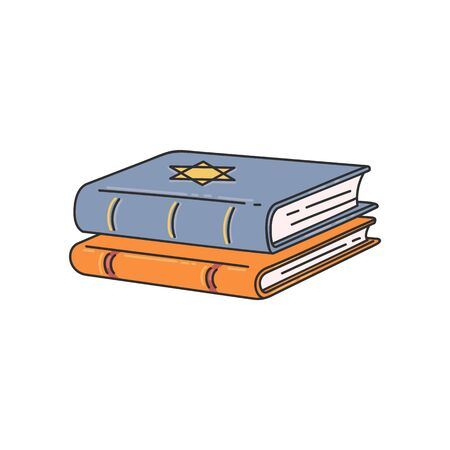 Jewish religion book stack with Star of David on cover - two religious Judaism books stacked on top of each other. Flat vector illustration isolated on white background. Иллюстрация