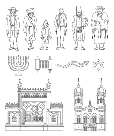 Jewish culture and religion symbols set with people, black outline vector illustration isolated on white background. Judaism traditional holidays and Israel state icons.