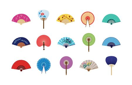 Set of asian chinese and japanese paper folding fans icons, flat vector illustration isolated on white background. Colorful pins of asian summer women clothing element. Illustration