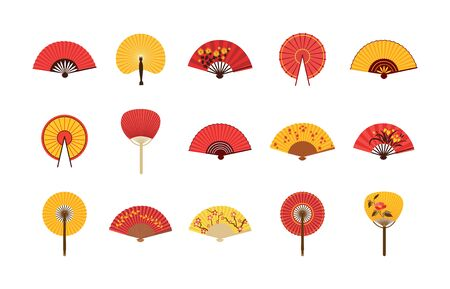 Traditional asian fans set in red and yellow, flat vector illustration isolated on white background. Summer sun protective accessories and japanese or chinese symbol.