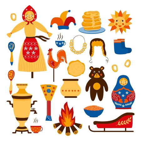 National Russia symbol icon set isolated on white background - cartoon icons related to traditional old Russian culture and Moscow. Flat vector illustration.