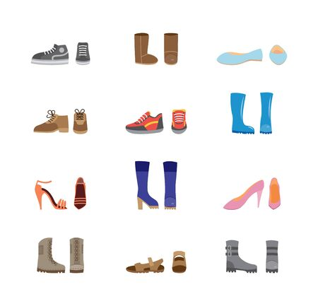 Set of leather and rubber womens casual boots and shoes icons, flat cartoon vector illustration isolated on white background. Modern fashion footwear collection. Ilustracja