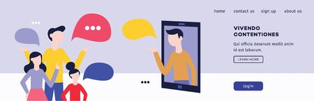 Business banner for the application with chat and dialogs, people talk and discuss. Online communication concept. Isolated flat vector illustration.