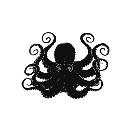 Octopus or poulpe black contour icon, vector illustration isolated on white background. Creative image for seafood restaurants and stores, textile or tattoo print.