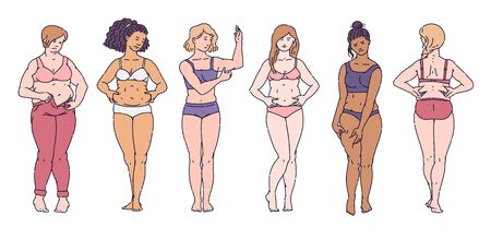 Set of women standing in underwear clamping fat folds on bodies cartoon style isolated on white