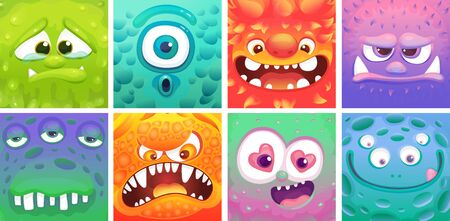 Cute colorful cartoon monster set - different facial expressions of alien animals. Sad, surprised, happy, angry creatures with funny faces, square vector illustration collection Illustration