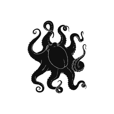 Black silhouette of marine animal - octopus or poulpe vector illustration isolated on white background. Creative image for seafood restaurant menu or textile print. Иллюстрация