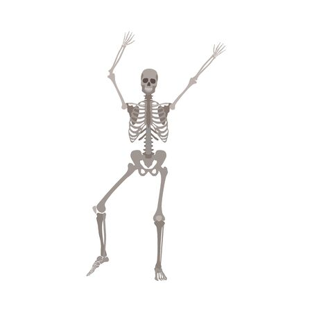 A gray skeleton with a skull and bones raised its hands up and shakes them.