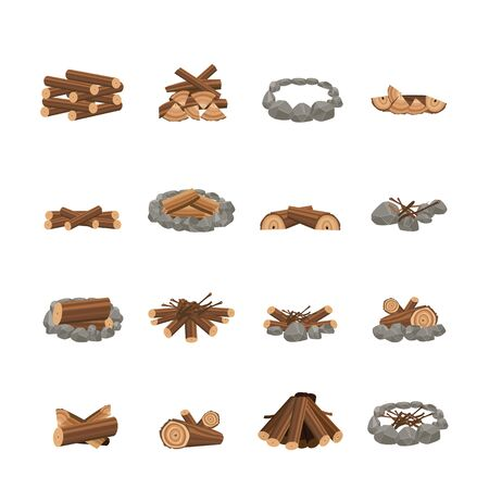 Set of various and different fireplace for campfire and bonfire. Campfire place and fireplace from forest brown firewood, branches and stones. Isolated vector illustration.