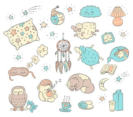 Sleep and dream doodle set - cute cartoon animals and objects hand drawn in sketch style isolated on white background. Pillow, cat, unicorn, sleeping, mask, etc - vector illustration Иллюстрация