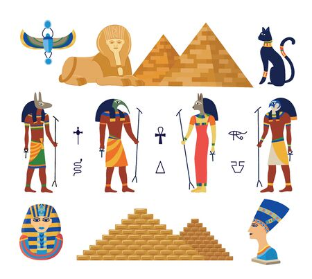 Egypt ancient gods and pyramids icons set cartoon vector illustration isolated on white