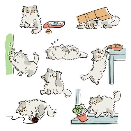 Playful naughty cat stealing food, scratching furniture and other funny scenes, sketch vector illustrations set isolated on white background. Pets and animal's bad behavior. Ilustração