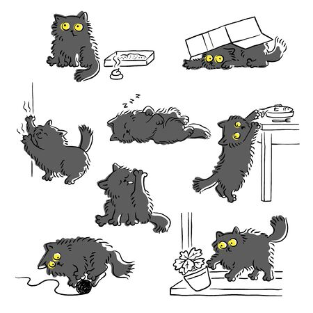 Naughty cat's bad behavior funny scenes,set of sketch vector illustration isolated on white background. Cat stealing food, scratching furniture and throwing off items.