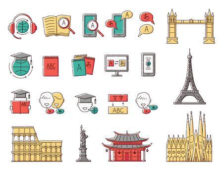 Language learning and education icon set