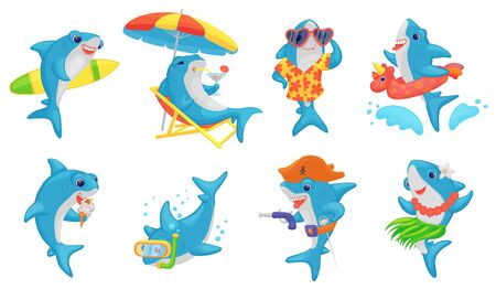 Cute shark on summer vacation - cartoon set. Blue and white fish swimming, surfing, diving, dancing, drinking cocktails on a beach, playing pirate and eating ice cream - isolated vector illustration